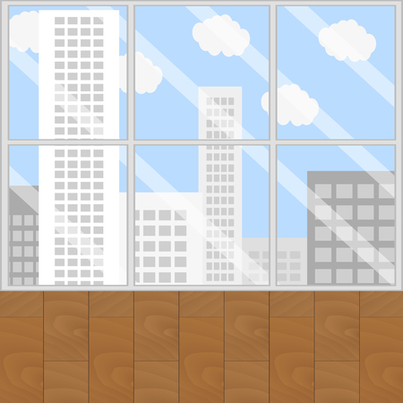 city view: View from window. Looking out window and city view, office window view. Vector illustration