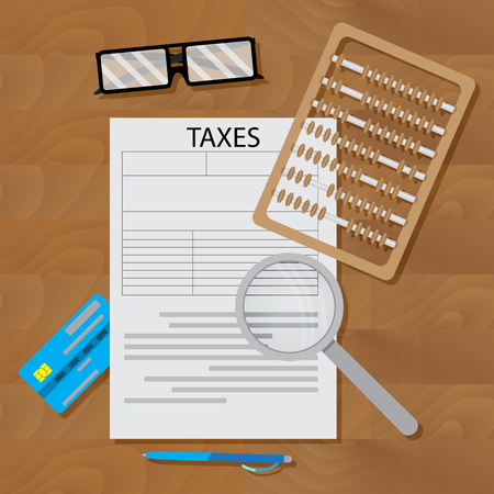 tax form: Write tax form. Vector business finance, financial paper writing and paperwork illustration