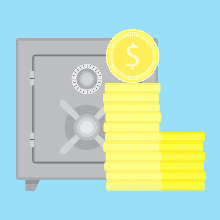 protect money: Storage money in safe. Save money in bank safe, protect money, vector illustration