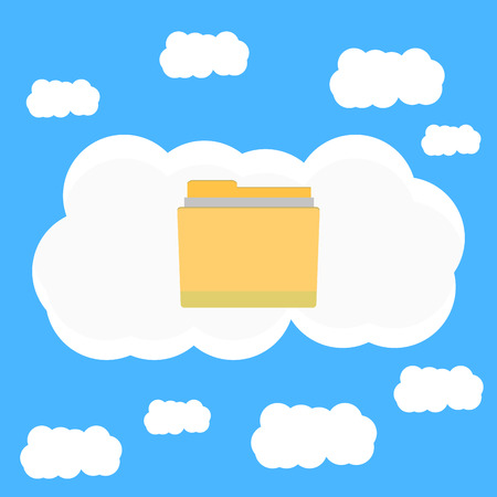 Cloud data in sky. Cloud computing and cloud security with big data, vector illustraton