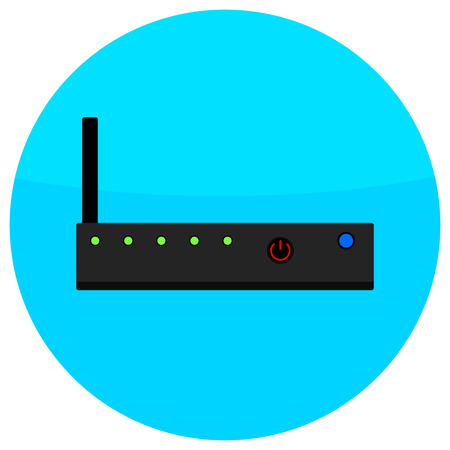 network router: Icon router flat. Network router icon, server switch, vector wireless router, ethernet illustration Illustration