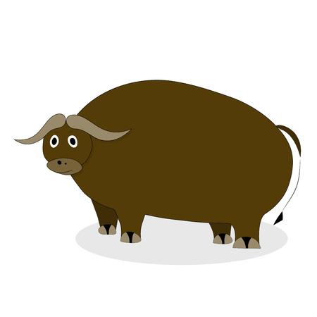 male bull: Yak bull character. Mammal male bull mascot, comic large yak wool, vector illustration