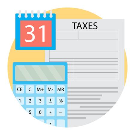 Belastingsdag pictogram vector. Rapport financieringsrekeningkundige illustratie Vector Illustratie