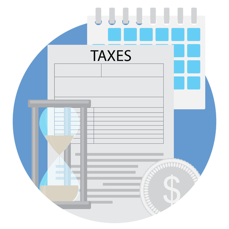 owe: Time to pay taxes flat icon. Income tax and paying taxes due, tax evasion vector illustration