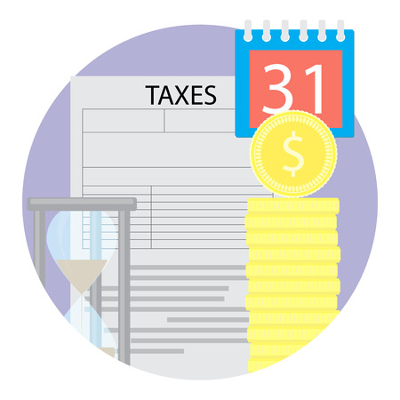 tax form: Taxation icon flat. Tax form and money coin with hourglass. Vector illustration Illustration