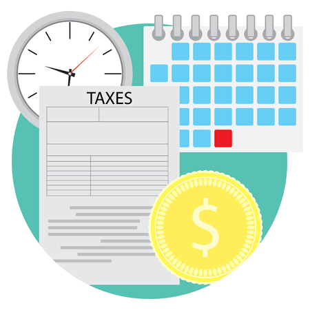 Tax icon flat. Business finance and financial audit document, vector illustration Illustration