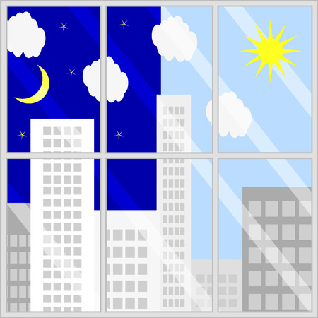 view window: Day night view from window. Illustration of landscape background, glass frame to night and day city vector
