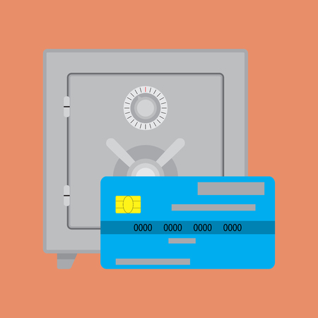 protect money: Credit card deposit safe. Vector bank safe, protect money o card illustration