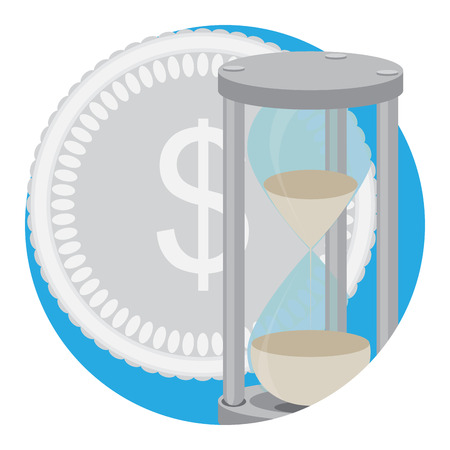 Time money icon vector. Time management, money and clock, save time and money illustration