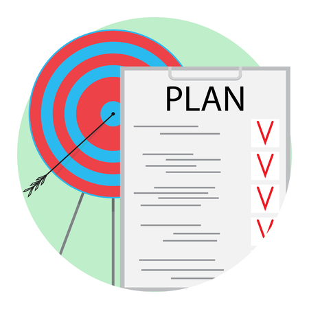 Implementation of plan icon vector. Business strategy management illustration