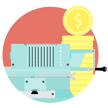 Count money flat icon vector. Adding machine and stock golden coin illustration. Audit and inspection budget or capital Illustration