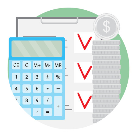 Stack of silver coin with calculator and checklist illustration. Financial planning vector icon flat  イラスト・ベクター素材