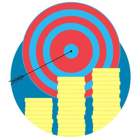 Financial success icon flat. Aim and target, golden coin of stack, vector illustration