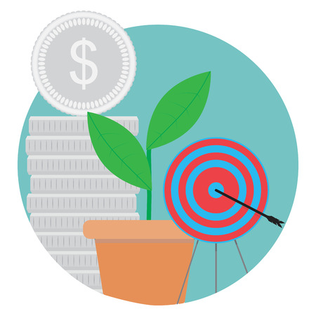 Goal achieved, success icon. Stack coin and green sprout, bulls eye, vector illustration