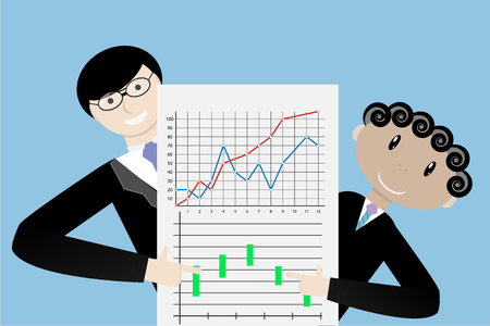 Team present successful indexes. Presentation chart and graph, vector illustration Illustration