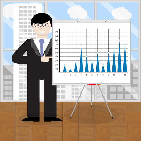 Presentation of report. Consultant leadership pointing toi chart. Vector illustration