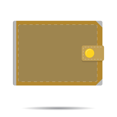 notecase: Leather wallet isolated vector. Notecase with cash money illustration