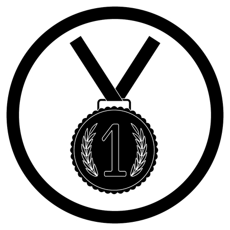 Medal, first place black icon. Success achievement emblem for app or design. Vector illustration