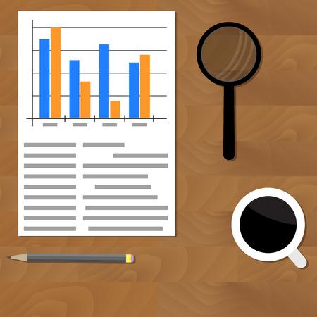 Analytics vector flat. Plan earning on table, office diagram accounting illustration Иллюстрация