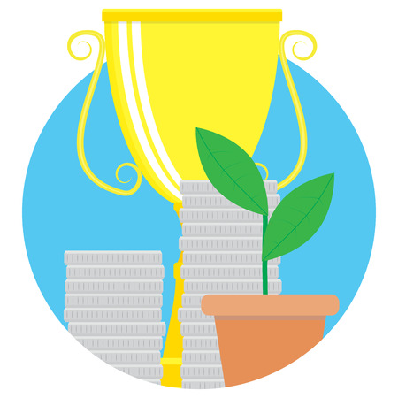 Financial success vector icon. Achieving goal and successful startup illustration