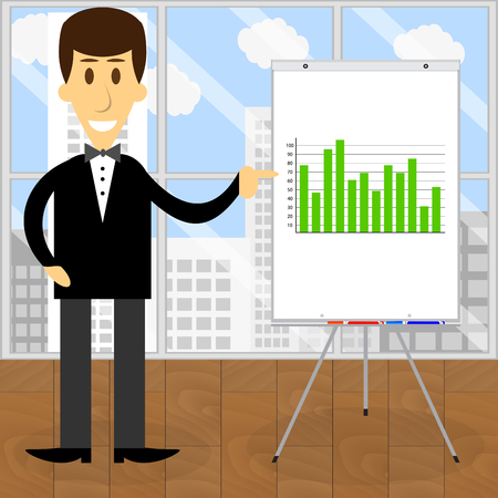 Consultant economist presentation business start up graphic, vector illustration Иллюстрация