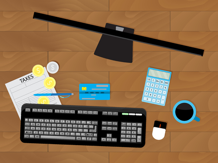 Accounting work place, count taxes. Finance work, money profit, workplace vector illustration
