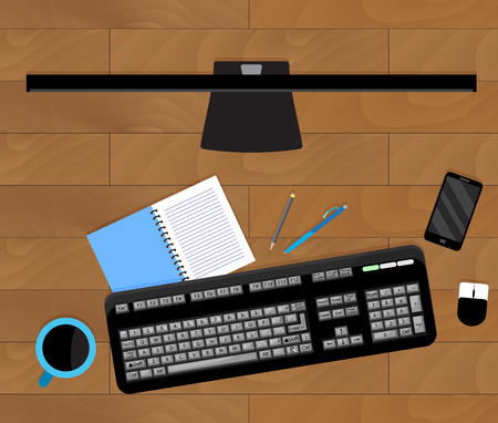 Top view of workplace table. Office work desktop and mobile phone. Vector illustration Иллюстрация