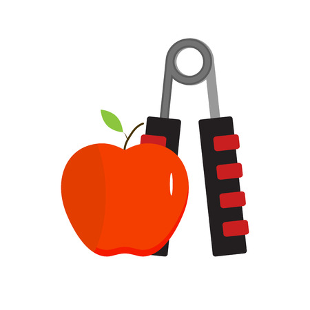 expander: Expander and apple, healthy eating and sport. Equipment for sport exercise, vector illustration