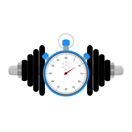 strength training: Strength training at time. Stopwatch and dumbbell for sport exercise, vector illuistration Illustration