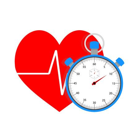 Mesurer impulsion du chronomètre. Le temps et le sport, battre le c?ur après l'entraînement, illustration vectorielle