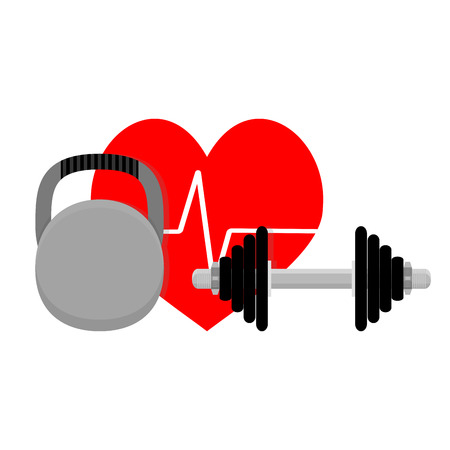 cardio workout: Healthy heart, sport and fitness. Cardio workout vector illustration