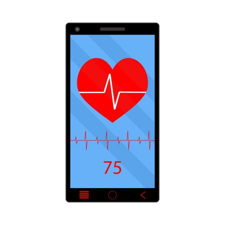 bpm: App heart rate monitor on phone. Technology smartphone, health gadget, vector illustration Illustration