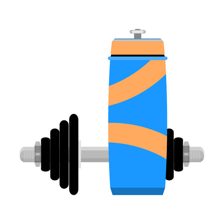 water: Water and training. Bottle for drink after exercise workout, vector illustration