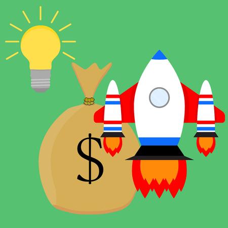 money sack: Financially successful launch start up idea. Business start, vector illustration