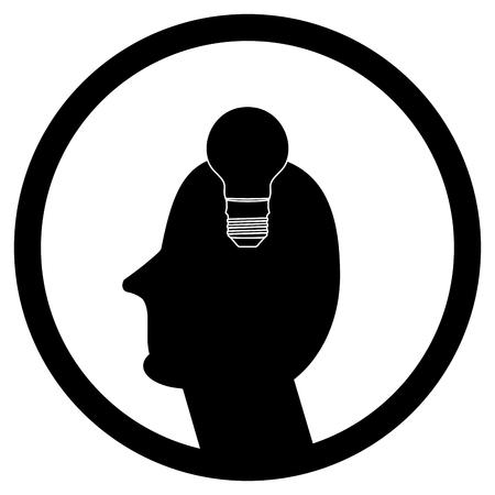 contemplate: Idea in human head, creativity innovation sign.