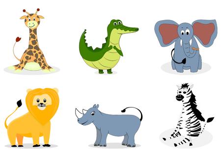 African animals vector cartoon. Giraffe and elephant, crocodile and zebra illustration