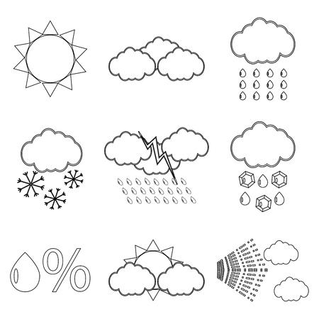 Weerpictogram lineair instellen. Sneeuwvlok en bliksem, sneeuw en regen, vectorillustratie