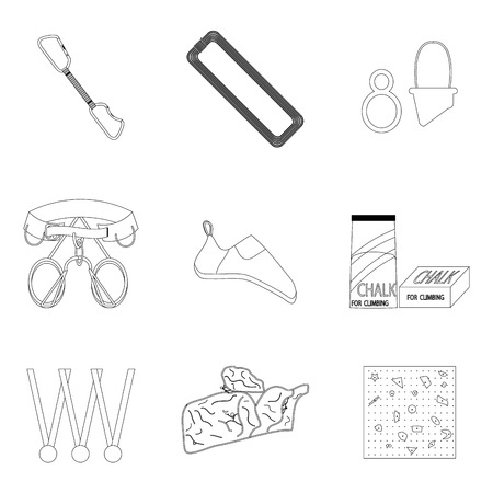 belay: Sports equipment for climbing line icons. Mountaineering and belay for belt, vector illustration Illustration