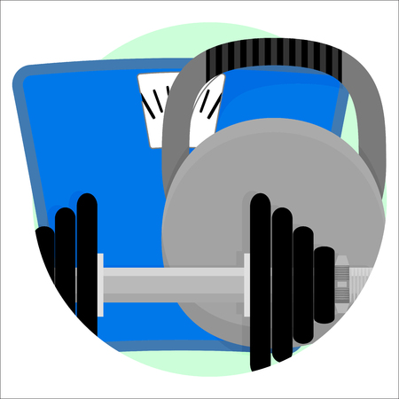 Sport app icon. Care body, vector illustration