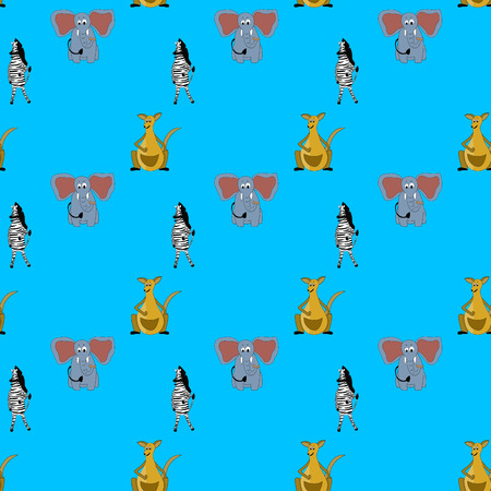 Kid pattern with animal. Elephant and kangaroo with striped zebra. Vector illustration