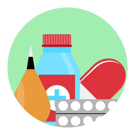 Drugs and Medications icon. Healthcare and therapy, cure and glass bottle with tablet. Vector illustration Illustration