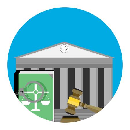 tribunal: Legal punishment icon vector. Verdict guilt, judgement and tribunal illustration Illustration