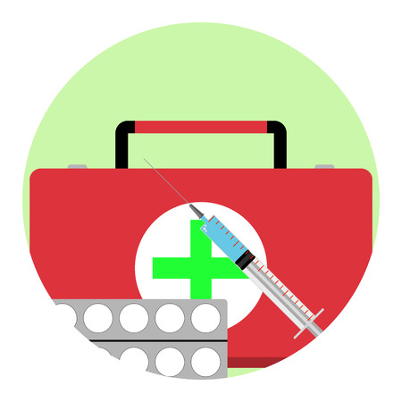 group therapy: Health care app icon. Medicine treatment emblem, vector illustration