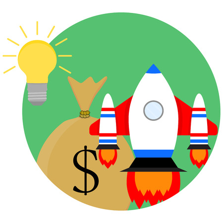 money sack: Idea of a business start-up. Development and strategy, sack of money and spaceship start up. Vector illustration