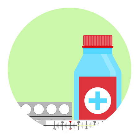 grippe: Cold treatment vector icon. Antibiotic for infection grippe, tablet medication illustration