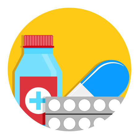 Drug icon vector. Antibiotic for therapy, aid and help illustration Illustration