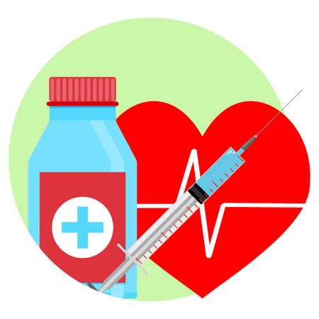 Drugs for heart icon. Tablets and injection, vector illustration. Help and reanimation Illustration