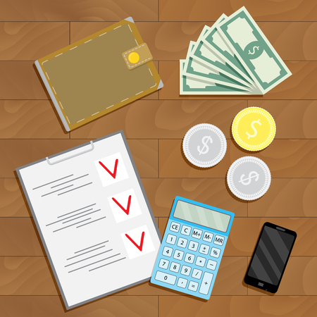 Financial accounting and verification. Finance checklist on desk, vector illustration
