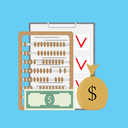 checking account: Check and count money. Finance checklist and abacus, sack of money. Vector illustration
