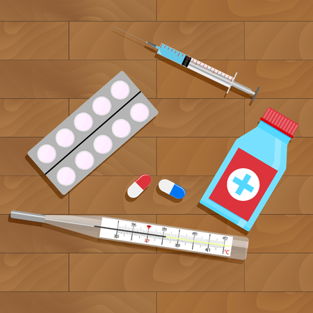 colds: Treatment of influenza and colds. Bottle and pack capsule. Vector illustration